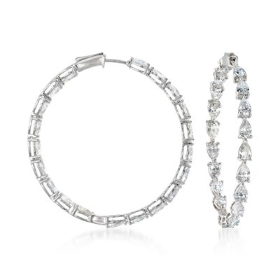 8.18 ct. t.w. Diamond Inside-Outside Hoop Earrings in 18kt White Gold, , default