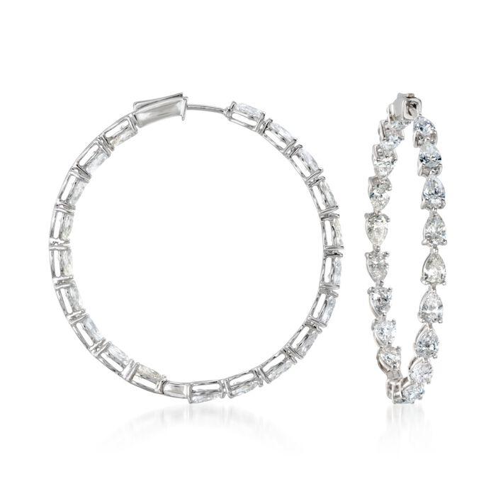 """8.18 ct. t.w. Diamond Inside-Outside Hoop Earrings in 18kt White Gold. 1 5/8"""""""