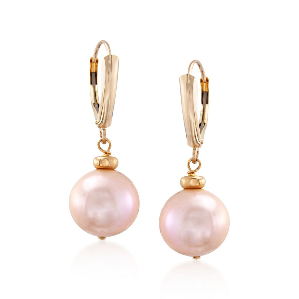 11 5 12 5mm Pink Cultured Pearl Drop Earrings In 14kt Yellow Gold Default