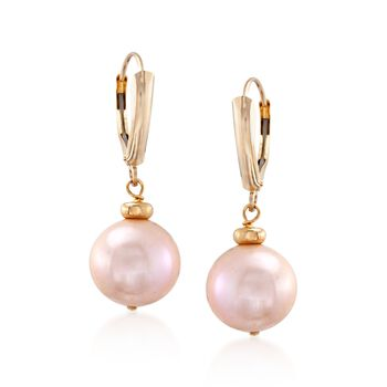 11.5-12.5mm Pink Cultured Pearl Drop Earrings in 14kt Yellow Gold, , default