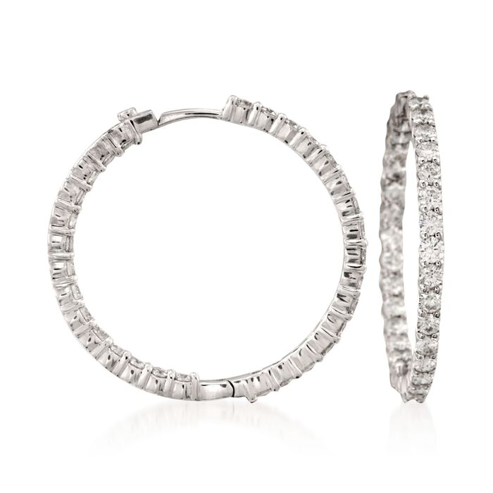 Roberto Coin 2.84 ct. t.w. Diamond Inside-Outside Hoop Earrings in 18kt White Gold. 1 3/16""