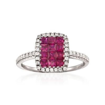 "Gregg Ruth ""Sonais"" .79 ct. t.w. Ruby and .27 ct. t.w. Diamond Ring in 18kt White Gold"