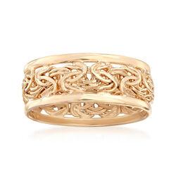 18kt Gold Over Sterling Byzantine Ring, , default