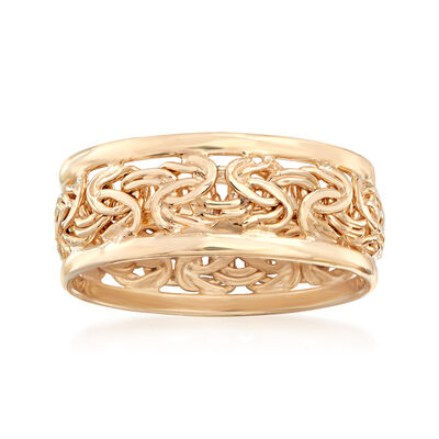 18kt Gold Over Sterling Byzantine Ring, , default