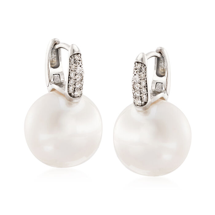 12-13mm Cultured South Sea Pearl and .16 ct. t.w. Diamond Earrings in 18kt White Gold