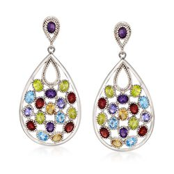 6.60 ct. t.w. Multi-Gemstone Drop Earrings in Sterling Silver , , default