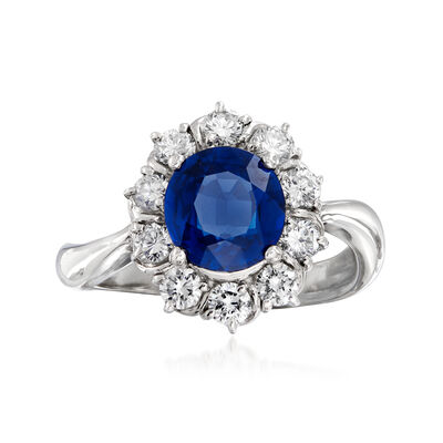 C. 2000 Vintage 1.84 Carat Sapphire and .66 ct. t.w. Diamond Ring in Platinum