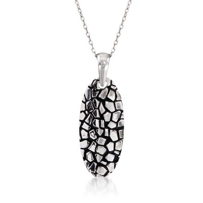Sterling Silver Cobblestone Oval Pendant Necklace with Black Epoxy, , default