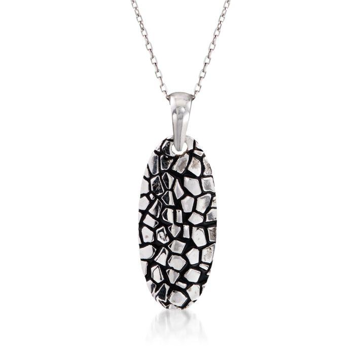 "Sterling Silver Cobblestone Oval Pendant Necklace with Black Epoxy. 18"""