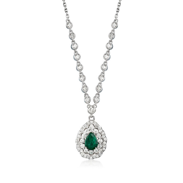 .74 ct. t.w. Diamond and .70 Carat Emerald Teardrop Necklace in 14kt White Gold