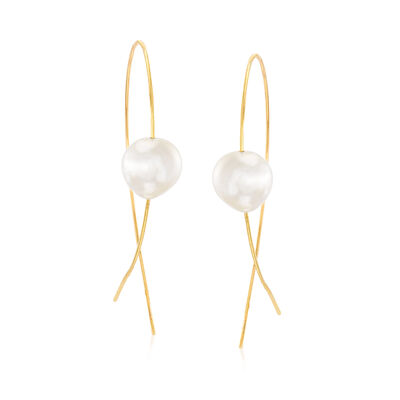 11-12mm Cultured Pearl Threader Drop Earrings in 18kt Yellow Gold, , default