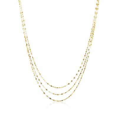14kt Yellow Gold Three-Strand Lumachina Chain Layered Necklace, , default