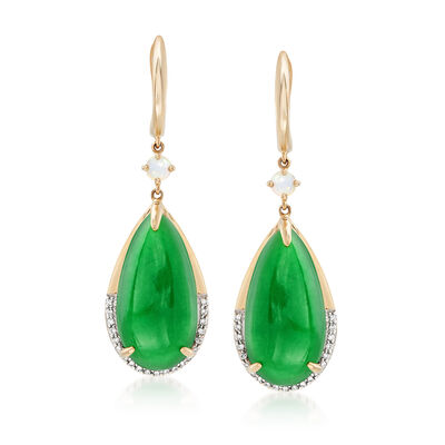 Green Jade and .16 ct. t.w. Diamond Drop Earrings in 14kt Yellow Gold, , default