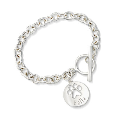 Sterling Silver Personalized Paw Print Bracelet