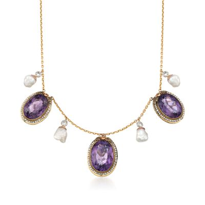 C. 1980 Vintage 36.50 ct. t.w. Amethyst and Cultured Pearl Necklace with Diamonds in 14kt Yellow Gold