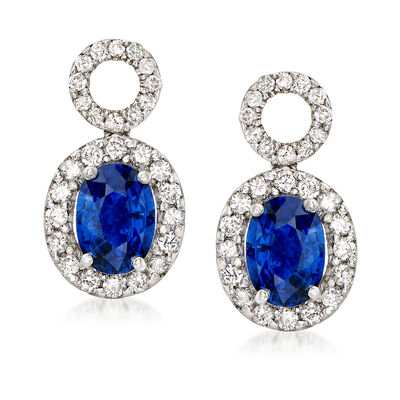 C. 1990 Vintage 1.50 ct. t.w. Sapphire and .70 ct. t.w. Drop Earrings in 18kt White Gold, , default