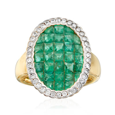 3.10 ct. t.w. Emerald and .38 ct. t.w. Diamond Ring in 14kt Yellow Gold, , default