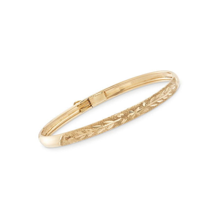 "Baby's 14kt Yellow Gold Floral Bangle Bracelet. 5.5"", , default"