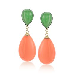 Green Jade and Coral Teardrop Earrings in 14kt Yellow Gold, , default