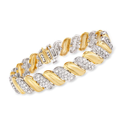 5.00 ct. t.w. Diamond Link Bracelet in 14kt Two-Tone Gold, , default