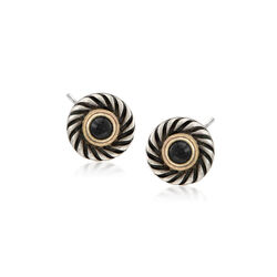 C. 2000 Vintage David Yurman Black Onyx and Sterling Silver Round Earrings With 14kt Gold , , default