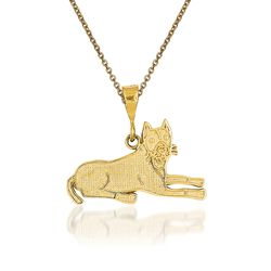 14kt Yellow Gold Pit Bull Pendant Necklace, , default