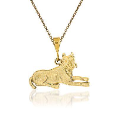 14kt Yellow Gold Pit Bull Pendant Necklace, , default