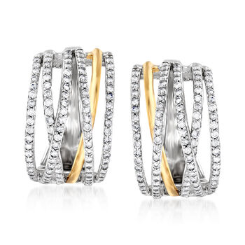 """1.00 ct. t.w. Diamond Highway Hoop Earrings in Sterling Silver and 14kt Yellow Gold. 3/4"""""""