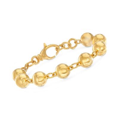 Italian Andiamo 14kt Yellow Gold Bead Bracelet, , default