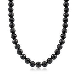 "10mm Black Onyx Bead Necklace With Sterling Silver. 18"", , default"