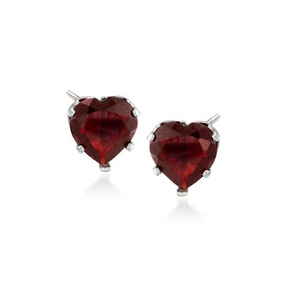2.80 ct. t.w. Garnet Heart Stud Earrings in Sterling Silver, , default