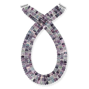Multicolored Fluorite Three-Strand Necklace with Sterling Silver, , default