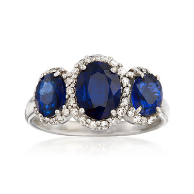 C. 1990 Vintage 2.40 ct. t.w. Sapphire and .48 ct. t.w. Diamond Ring in 14kt White Gold, , default