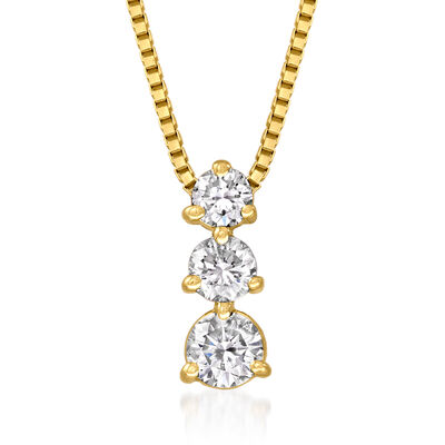 C. 1990 Vintage .90 ct. t.w. Diamond Pendant Necklace in 14kt Yellow Gold