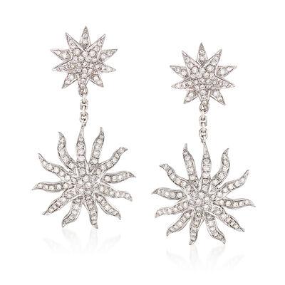 C. 1990 Vintage 2.35 ct. t.w. Diamond Starburst Drop Earrings in 18kt White Gold, , default