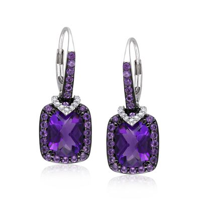 4.60 ct. t.w. Amethyst Drop Earrings with Diamond Accents in Sterling Silver, , default