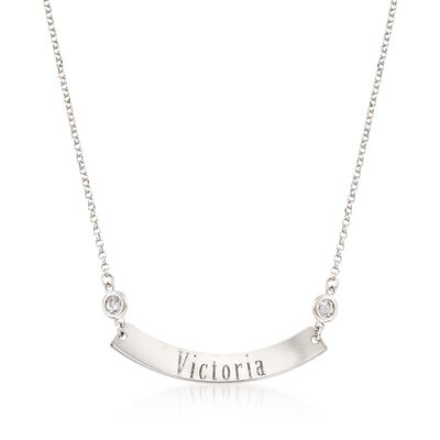 Italian Sterling Silver Curved Name Bar ID Necklace With 2.00 ct. t.w. CZs, , default