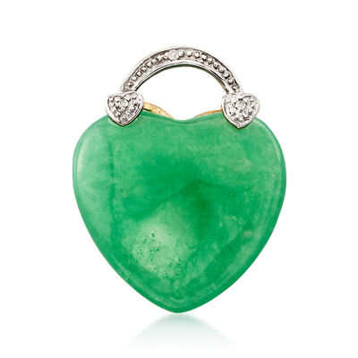 Green Jade Heart Pendant in 14kt Yellow Gold, , default