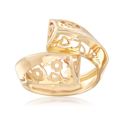 Italian 18kt Yellow Gold Flower Bypass Ring, , default