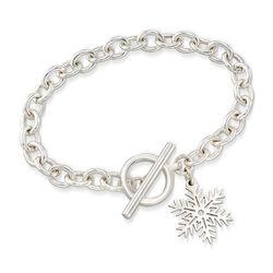 Sterling Silver Snowflake Charm Bracelet, , default