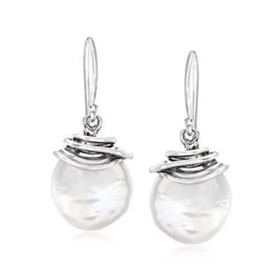 12-13mm Cultured Baroque Coin Pearl Drop Earrings in Sterling Silver