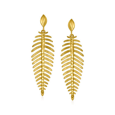 Italian 14kt Yellow Gold Leaf Drop Earrings
