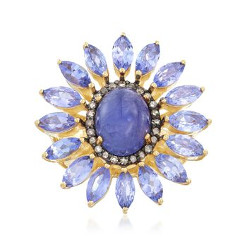 7.00 ct. t.w. Tanzanite and .30 ct. t.w. Champagne Diamond Ring in 18kt Gold Over Sterling, , default