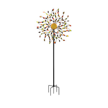 Regal Rotating Leaves Metal Outdoor Wind Spinner