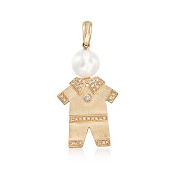 8mm Cultured Pearl and .18 ct. t.w. Diamond Boy Charm Keepsake Pendant in 14kt Yellow Gold , , default