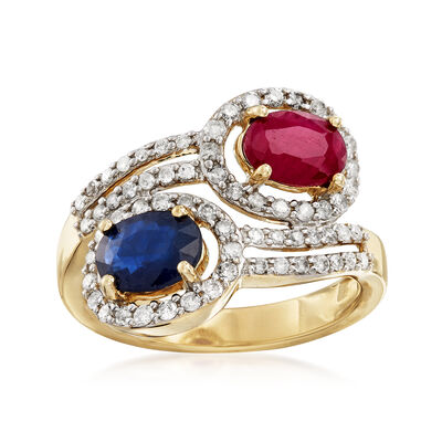 2.20 ct. t.w. Multi-Gemstone and .52 ct. t.w. Diamond Bypass Ring in 14kt Yellow Gold