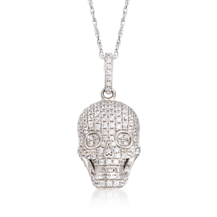 "1.00 ct. t.w. CZ Skull Pendant Necklace in Sterling Silver. 18"", , default"