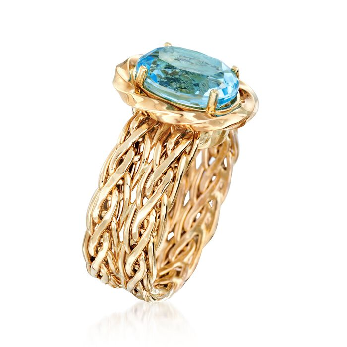 4.20 Carat Blue Topaz Woven Ring in 14kt Yellow Gold