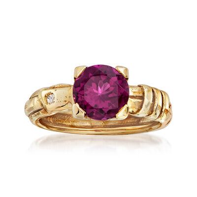 C. 1980 Vintage 2.00 Carat Rubellite Ring in 18kt Yellow Gold, , default