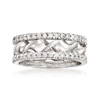 .80 ct. t.w. Diamond Double-Twist Wedding Band in 14kt White Gold, , default